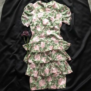 Vintage Silk Floral Ruffle Dress